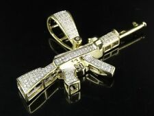 Men's 10K Yellow Gold Genuine Diamond AK 47 Rifle Gun Pendant Charm 2/5 CT 1.2""