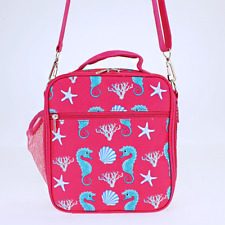 Pink Seahorse Insulated Lunch Tote Bag