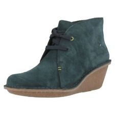 Ladies Clarks Suede Wedge Heeled Ankle Boots Style - Marsden Lily