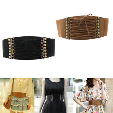 Women Lady Retro Stretch Buckle Waist Belt Wide Leather Elastic Corset Waistband