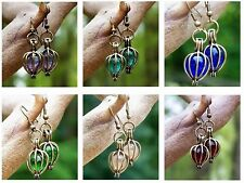 Eco Friendly ~ Antique Brass / Recycled Vintage Glass ~ Drop Pierced Earrings