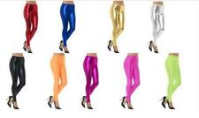 Ladies 1980's Neon/ Metallic Footless Leggings Disco Fancy Dress Hot Pants