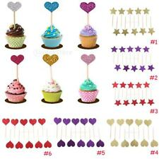 Pack of 10pcs Glitter Cupcake Toppers Cake Decorative Birthday Food Picks Favor