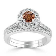 Auriya 14k Gold 3/4ct TDW Brown Round Halo Diamond Wedding Ring Set