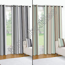 Striped Lined Pair of Window Drape Curtains with Grommets - Black Cream Blue