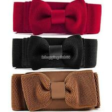 Women Girls Graceful Bowknot Elastic Lovely Belt With Buckle Waistband IS6H 04