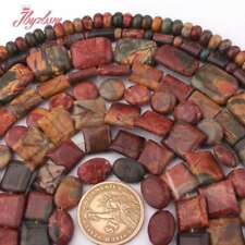 """Natural  Picasso Jasper Gem Stone Mixed Shape Loose Beads Jewelry Making 15"""" DIY"""