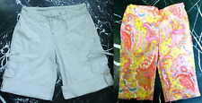 JUSTICE Girls Beige Lace Trim Roll-Up Coral PAISLEY Bermuda SHORTS 6 7