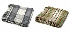 100% Wool Cottage Check Blanket Sofa Bed Throw Travel Rug Made in UK Tweedmill