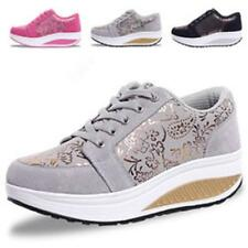 New Womens lady Lace Up Platform Sneakers Hiking Running Wedge Heel Casual Shoes