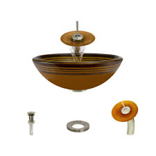 MR Direct 615 Hand Painted Glass Vessel Sink, with Brushed Nickel Vessel Faucet,