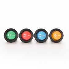 1X/4X ON/OFF LED 12V 16A DOT ROUND ROCKER SPST TOGGLE SWITCH CAR BOAT LIGHT EF