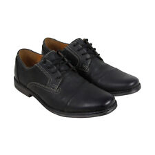 Clarks Holmby Cap Mens Black Leather Casual Dress Lace Up Oxfords Shoes