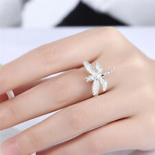 Fashion Women Lady Girls Jewelry Silver Plated Dragonfly Zircon Ring Size 6-8