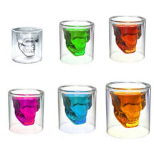 Skull Glass Cup Double Wall Shot Bar Drink Whiskey Wine Beer Mug Glassware
