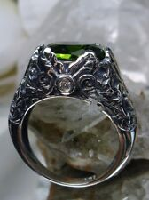 5ct Green Peridot Sterling Silver Art Nouveau Ivy Filigree Ring {Made To Order}