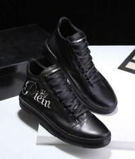 NEW Men's Lace Up Metal Crown Logo Leather Boot Sports Sneaker High Top Shoes
