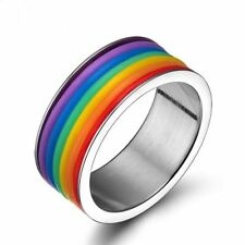 Gay Lesbian LGBT Pride Stainless Steel Rainbow Striped Ring Band Size 7-12 Hot