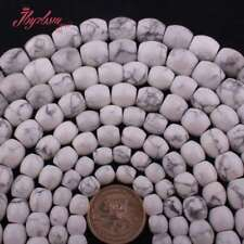 """Drum White Howlite Turquoise Stone Spacer Loose Beads for Jewelry Making 15""""DIY"""
