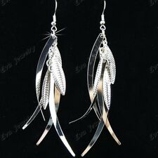 Charms 10Pairs Fashion Silver Long Leaves Drop Earrings Wholesale Jewelry Lots
