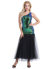 Women One Shoulder Shiny Sequins Long Dress Mermaid Evening Formal Party Dresses