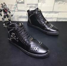 Men's Casual Leather Skull Head Nail Design Top High Sports Sneaker Shoes Black