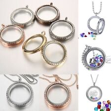 25mm Floating Charms Living Memory Crystal Round Glass Locket Pendant Necklace