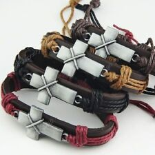 2014 New 6-12pcs Leather  Vintage Cross Women Mens Bracelets Bangles Wholesale