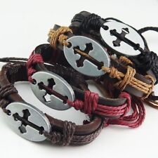 12pcs Leather Women Mens Vintage Cross Bracelets Bangles Wholesale Jewelry Lots