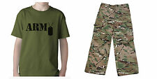 Kids Military Army Style Olive T-Shirt with MultiCam MTP Camo Trousers Dress Up