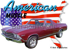 1969 Red Chevy El Camino a Custom Hot Rod USA T-Shirt 69 Muscle Car Tees