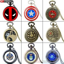 Vintage Steampunk Classic Quartz Pocket Watch Women mens Gift Necklace Chain