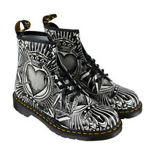 Dr. Martens 1460 Egret Mens Gray Leather Casual Dress Lace Up Boots Shoes