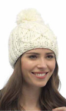 Ladies Chunky Cable Beanie Hat With Pom-Pom-Winter Thermal Hat GL212