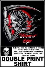 TIME'S UP HOODED GRIM REAPER SCREAMING SKELETON WITH SYTHE SKULL T-SHIRT XT87D