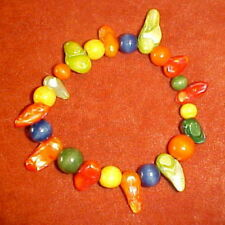 Dyed Wood Beads, Shells & Colorful Fresh Water Pearls7 1/2 inch