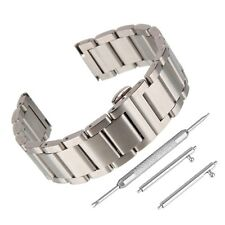 Stainless Steel Bracelet Push Button Clasp Scrub Matte Polished Side Solid Strap