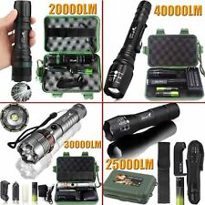 Tactical Zoomable Flashlight 5Modes 40000LM T6 LED 18650 Focus Torch + Case +BTY