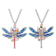 Women Crystal Gear Chain Dragonfly Insect Gears Pendant Steampunk Necklace