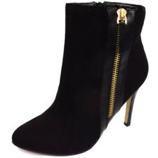 LADIES DOLCIS BLACK ZIP-UP HIGH- HEEL CHELSEA ANKLE WORK CALF BOOTS SHOES
