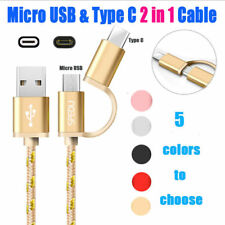 2.4A High Speed Charging & Data Sync Cable 2-In-1 Micro USB & Type-C For Samsung