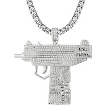 UZI Hand Gun Pistol Pendant Full Iced Out Sterling Silver Hip Hop Tennis Chain