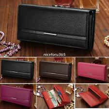 New Hot Sale Women PU Leather Wallet Button Clutch Purse Lady Long Bag 01