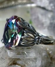 6ct Oval*Mystic Topaz* Sterling Silver Leaf Floral Filigree Ring {Made To Order}