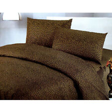 3 Pce Leopard Black Brown Quilt Doona Duvet Cover Set - DOUBLE QUEEN