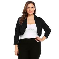 Women Plus Size 3/4 Sleeve Cropped Bolero Shrug Top RR6