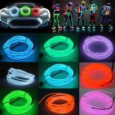 3-15 ft LED EL Wire Neon Glow String Strip Light Rope Controller Car Decor Party