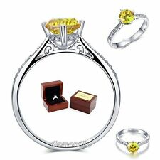 925 Sterling Silver Engagement Ring Vintage 1.25 Ct Yellow Canary Lab Diamond &