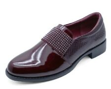 LADIES BURGUNDY PATENT SLIP-ON FLAT DIAMANTE LOAFERS SMART WORK SHOES PUMPS 3-8