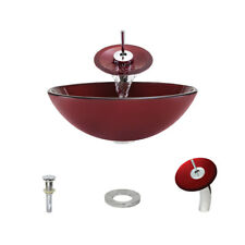 641 Hand Painted Glass Vessel Sink, Chrome Vessel Faucet, Sink Ring, and Vessel
